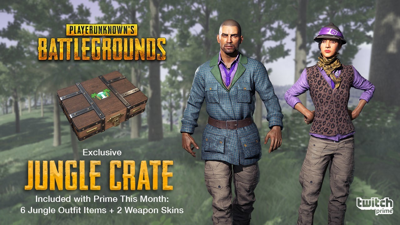 【PUBG】Twitch Prime特典(第3弾):計8種の限定スキンを含む「Jungle Crate」が8月17日より配布開始